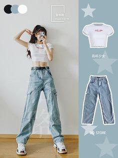 Korean Girl Fashion, Ulzzang Fashion, Korean Street Fashion, Kpop Fashion Outfits, Girls Fashion Clothes, Asian Fashion, Look Fashion, Girl Outfits, Korean Outfit Street Styles