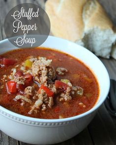 Healthy Stuffed Pepper Soup 190 calories and 5 weight watchers points plus