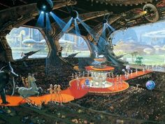 'Caesar's Universe,' Robert McCall, 1978 Space Fantasy, Fantasy City, Sci Fi Fantasy, Post Apocalyptic Art, 70s Sci Fi Art, Thanksgiving Day Parade, Retro Futuristic, Science Fiction Art, Arte Popular