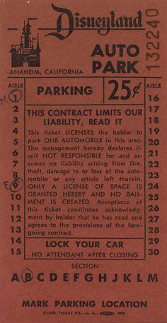 Vintage Disneyland Tickets: Disneyland on August 20, 1958....WOW a bit cheaper than today's parking price