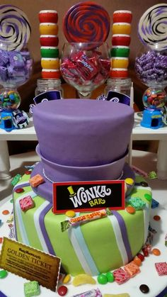 Willy Wonka birthday party cake! See more party ideas at CatchMyParty.com!