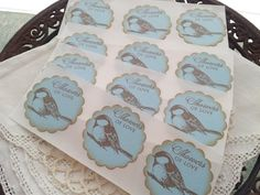 Baby Shower Bird Stickers Blue Showers of Love by LazyDayCottage