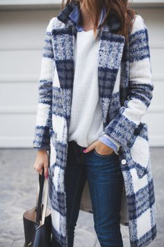 Plaid coat.