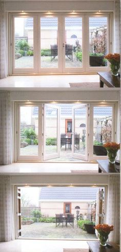 Love the idea of floor to ceiling accordion doors for master - Houses interior designs Red Bathroom Decor, Accordion Doors, French Doors Patio, Folding Doors, Bi Fold Patio Doors, Bi Fold Doors, Door Design, Great Rooms, Future House