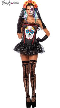 Purchase Day of the Dead costumes like this Sugar Skull Bustier at Yandy! #Yandy