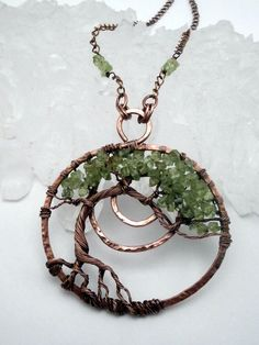 Wire Wrapped, Tree of Life Pendant Necklace, Peridot, Bonsai Tree, Handmade, Antiqued Copper, Wire Jewelry, August Birthstone    The pendant is