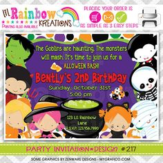 217 DIY Halloween 11 Party Invitation Or Thank by LilRbwKreations