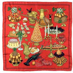 VERY RARE Vintage Hermes Silk Scarf - 'La Gastronomie' By Christiane Vauzelles | 1stdibs.com
