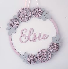 FLOWER Personalised Door Wall Name Tag  Sing Plaques New Born Boy Girl MDF