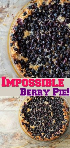 Impossible Berry Pie recipe! Place one bowl of ingredients into a pie plate and you get a flour crust, a custard layer and a berry coconut topping! #pie #baking #berries #saskatoons #blueberries #sweets #desserts #dessert #treat #picnic #recipe