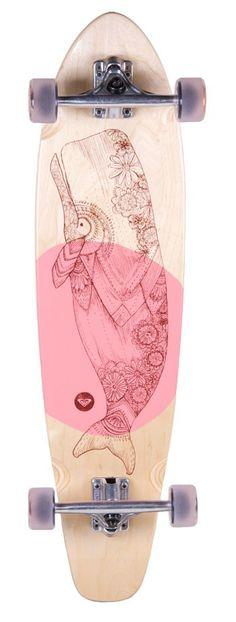 Roxy Balina Cruiser Skateboard is a maple wood skateboard featuring delicate whale artwork. ......Price - $170.00