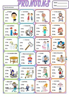 A simple grammar worksheet about the use of subjective pronouns.It is easy and simple for young learners or struggling students . It can be given at the end of your lesson as a wrap up. Teaching Pronouns, Pronoun Activities, Pronoun Worksheets, English Worksheets For Kids, English Activities, Printable Worksheets, Kindergarten Worksheets, Prepositions, Nouns And Pronouns