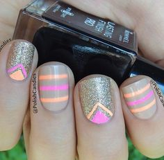 Stripes on a light brown nail polish and simple Chevron on gold glitter nails. Both designs would be easier with strips.