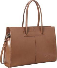 Sharo Leather Bags Women's Genuine Leather Laptop Tote Café Ole - via eBags.com!