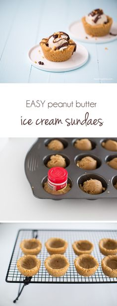 Peanut butter cookie sundae cups filled with ice cream. Such an easy and delicious summer dessert!