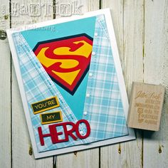 Simply Super Shield with Super Hero from the Frantic Stamper with My Favorite Things Label Maker Love and Label Maker Sentiments Birthday Card Sayings, Birthday Cards For Men, Superman, Disney Cars Birthday, Boy Birthday, Birthday Parties, Paper Folding Crafts, Frantic Stamper, Fathers Day Cards