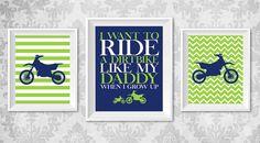 "Baby Boy or Toddler Motocross Dirtbike Nursery Print - Set of 3 Digital Prints 11""x14"" & 8""x10"""