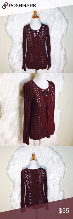 Selling this Free People Maroon Crochet Lace-Up Top on Poshmark! My username is: onas. #shopmycloset #poshmark #fashion #shopping #style #forsale #Free People #Sweaters