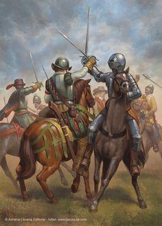 Melee between Spanish and Dutch cavalry, Thirty Years War Renaissance, Military Art, Military History, European History, Ancient History, Thirty Years' War, Early Modern Period, Templer, Landsknecht