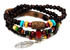 Leather jewelry for Women | Best Ethnic Leaf Pendant Leather Wood Bead Bracelets for men and women ...