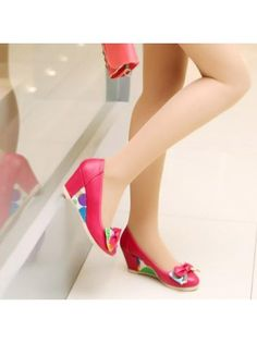 Multicolor Bow Round Toe Rose PU Wedged Pumps