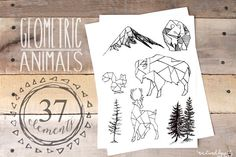 Geometric Animals & Rustic Landscape - Illustrations