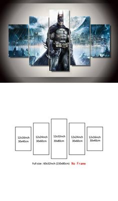 5 pieces Canvas Painting Batman Movie Poster HD Print Painting Decoration Modern Home Wall Art Decoration Unframed $28.64