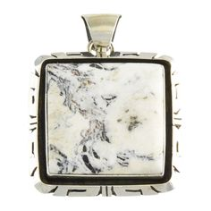 Elouise Kee Sterling Silver White Buffalo Square Pendant Navajo Jewelry -- Awesome products selected by Anna Churchill