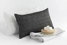 FLY is authentic and elegantly nordic collection. FLY is a thoroughly natural interior textiles collection woven from linen and cotton. It is textured, sheer and reversible. Sauna range includes small/large towels and saunapillows, in 5 different colors. Color, Pillows, Bed, Home, Interior, Natural Interior, Throw Pillows, Interior Textiles, Woven