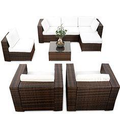 Poly-Rattan Lounge Set ARIANO, 5 mm RUND-Geflecht, Alu-Gestell ...