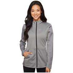 Nike Therma Hyper Elite Hoodie (Dark Grey Heather/Black/Iridescent)... ($100) ❤ liked on Polyvore featuring activewear, activewear tops, nike sportswear, nike activewear and nike