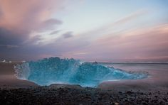 """""""Ice Beach,"""" by Daniel Bosma.  """"The volcanic beach below the Jökulsárlón glacier, Iceland. A place of magic.   Chunks of glacial ice, big and small, from the nearby glacial lagoon Jokulsarlon are gradually broken up by the sea water and deposited on this volcanic beach.   The one in this photo had a width of a couple of meters."""""""