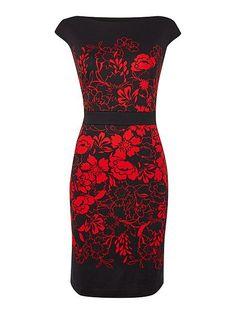 Floral silhouette cap sleeve ponte shift dress