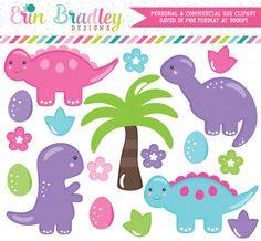 Dinosaur Clipart Girls – Erin Bradley/Ink Obsession Designs