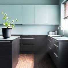 FAKTUM kitchen with GNOSJÖ black wood effect doors/drawers and RUBRIK APPLÅD light turquoise doors