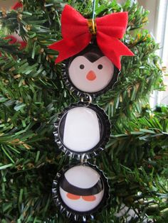 Penguin Bottle Cap Christmas Tree Ornament