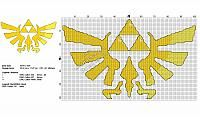 The Legend Of Zelda Triforce free cross stitch pattern 101x61