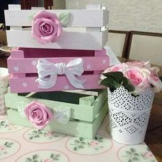 colored fruit crates - shabby chic style - cute idea!!!!