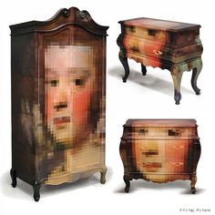 The Trip Pixel Collection consists of classic furniture pieces with hand-decorated pixelated imagery.