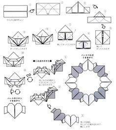 DIY. Modular origami heart wreath. Pictorial.