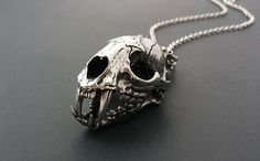 Large Cat Skull Necklace Stainless Steel // Unisex Animal Skull Necklace // Vulture Culture Wunderkammer // Dark Mori // Gothic Necklace