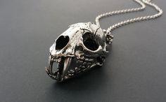 Large Cat Skull Necklace Stainless Steel // Unisex Animal Skull Necklace // Vulture Culture Wunderkammer // Dark Mori // Gothic Necklace