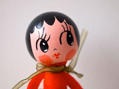 Hand painted wooden peg doll decoration girl with puppy dog