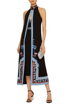 Temperley London's 'Parchment' dress is cut from navy crepe and embroidered along its capeline panel. Trimmed with a light-blue hue, this halter falls just below the knee. Pair yours with mules or sandals.