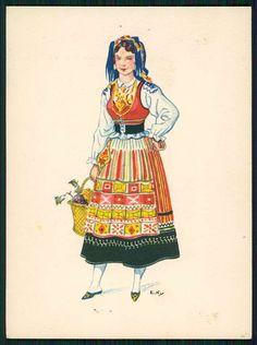 Art Emerico Nunes Ethnic Folk Dress Costume Minho Portugal 1950s Postcard | eBay