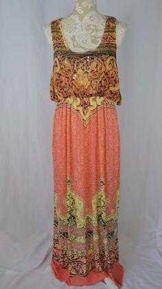 One World Womens XL NEW Tank Top Sleeveless Paisley Boho Coral Maxi Dress #OneWorld #Maxi #Casual