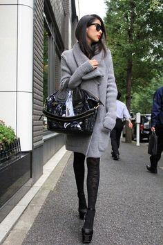 Cozy cardi + platform heels