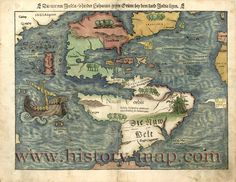 Here we present a collectible chart of Western Hemisphere; Die neuwen Inseln, so hinder Hispanien gegen Orient bey dem land India ligen. It was made in 1550.     Western Hemisphere.    Relief shown pictorially. South America labeled in German, geographic features otherwise in Latin. Appears in the author's Cosmographei. Basel, Switzerland. 1550.