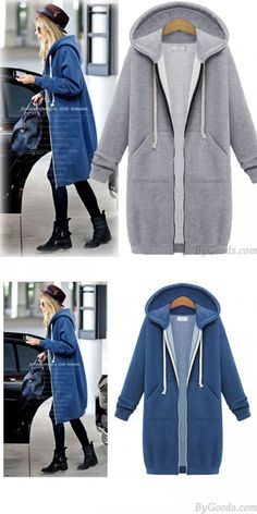 New Hooded Long-sleeved Sweater Coat Long Coat Thicker Coat Pullover Long Sweater Coat, Cardigan Sweaters For Women, Girls Sweaters, Long Sweaters, Long Sleeve Sweater, Winter Coats Women, Coats For Women, Cardigan Fashion, Fashion Coat