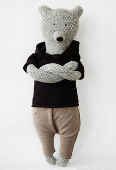 Louie The Bear was made by hand, when using natural fabrics that do not cause allergies. Materials - tweed, cotton, jersey.